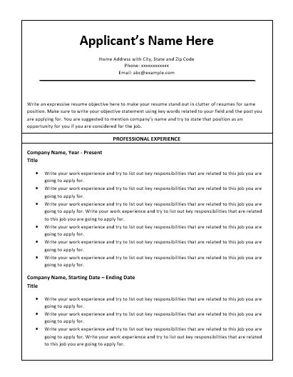 chronological resume template free word templates