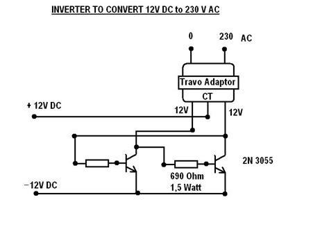 converter dc ke ac skema rangkaian merubah tegangan 12 volt dc ke 230 volt ac