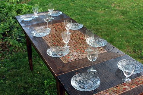 Dining Table Mosaic Tile Rustic Contemporary Reclaimed Mosaic Dining Tables