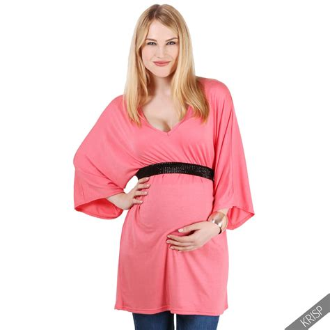 T Shirt Wanita Tunic maternity womens v neck tunic top pregnancy wear blouse t shirt ebay