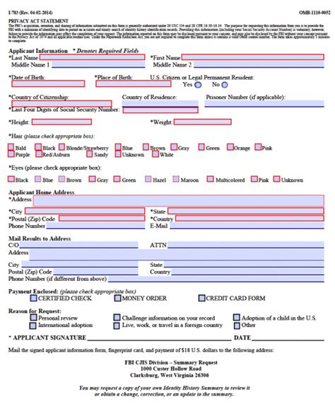 How To Request An Fbi Background Check Free Fbi Background Check Authorization Form I 783 And