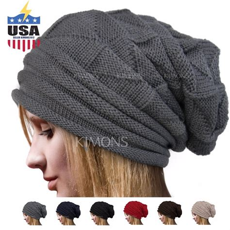 knit s s baggy beanie oversize winter hat ski