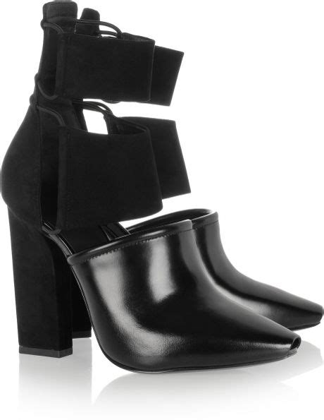 wang mackenzie suede and leather ankle boots in