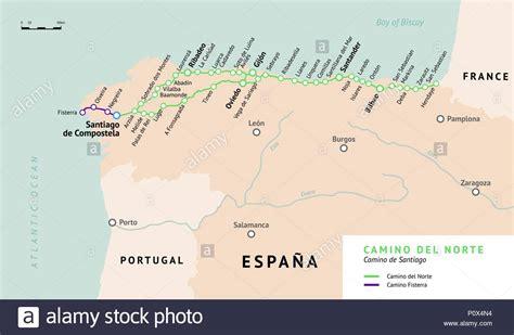 camino pilgrimage map camino de santiago map stock photos camino de santiago