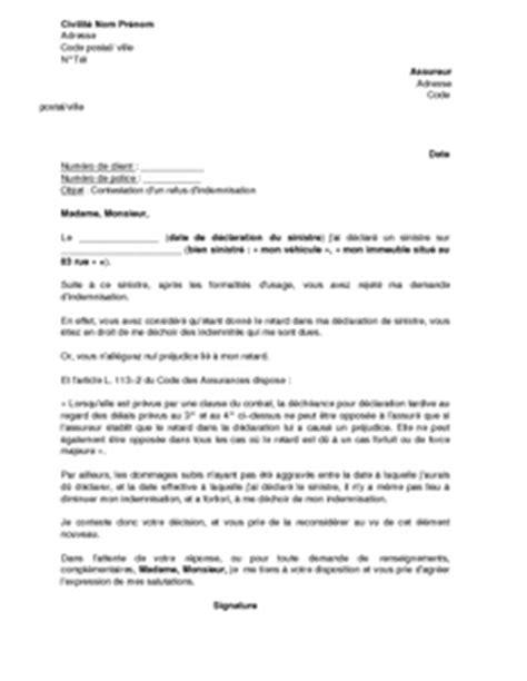 Lettre De Contestation Mobile Lettre De Contestation De Refus D Indemnisation Pour Retard De La D 233 Claration De Sinistre