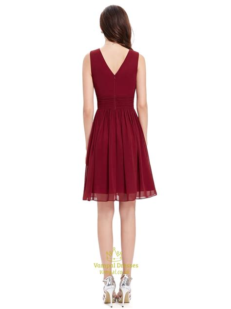 V Neck Chiffon Dress burgundy chiffon v neck sleeveless knee length bridesmaid