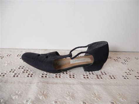 lord and shoes flats vintage shoes black flats fabric t s size 7 by
