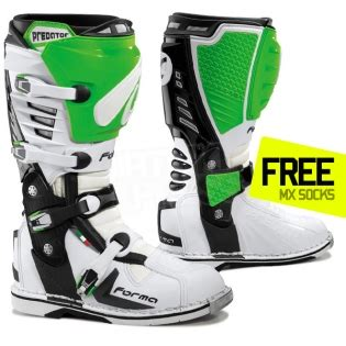 green motocross boots forma predator boot white green dirtbikexpress