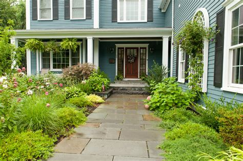 front entrance walkway and plantings traditional landscape boston by terrascapes