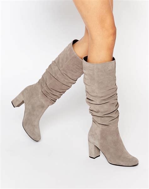 oasis oasis slouch block heel boots at asos