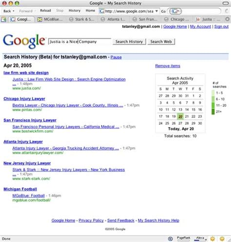 See What Search For Search History See What You Searched And Clicked On Justia Technology