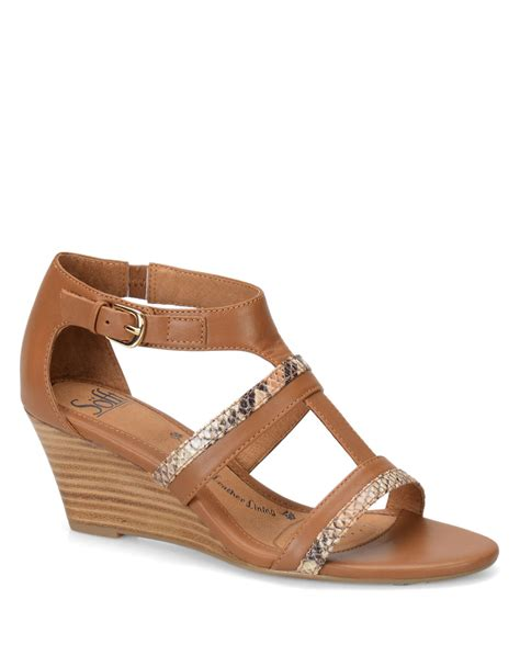 s 246 fft pippa brown leather wedge sandals in brown lyst