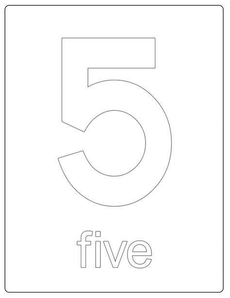 Number 5 Coloring Page Printable Numbers Number 5 by Number 5 Coloring Page