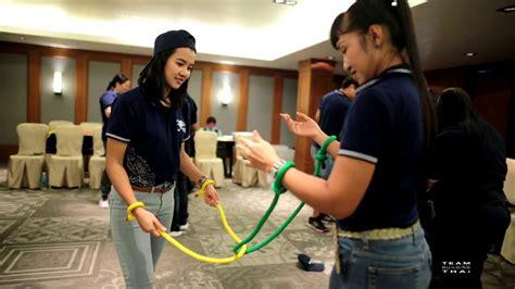 team building thailand indoor activity  magic rope game