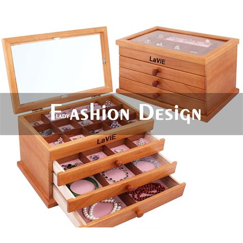 3 layers drawstring skylight solid wood jewelry boxes