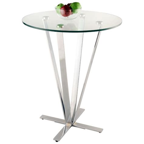 Glass Bistro Table Cortland Pub Table Glass Chrome Dcg Stores