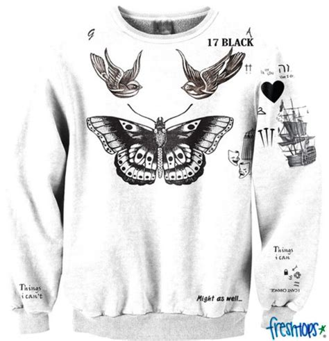 Harry Styles Tattoo Sweater Fresh Tops | sweater harry styles tattoo top ecriture papillon