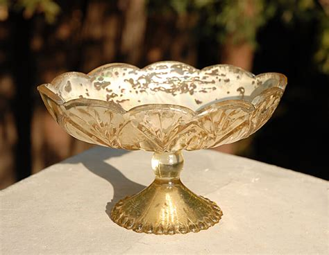 Gold Compote Vase by Gold Carraway Dish