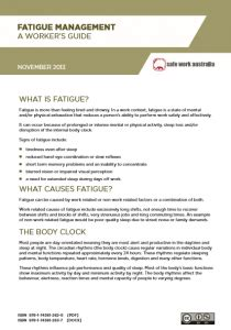 Nrspp Australia 187 Fatigue Management A Worker S Guide Fatigue Management Policy Template