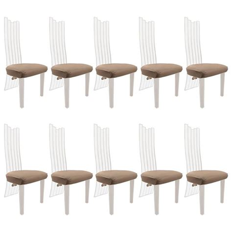 set of ten high back lucite dining chairs for sale at 1stdibs