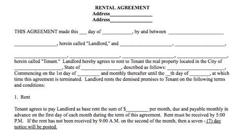 Basic Rental Agreement In A Word Document For Fre Simple Rental Agreement Template Word
