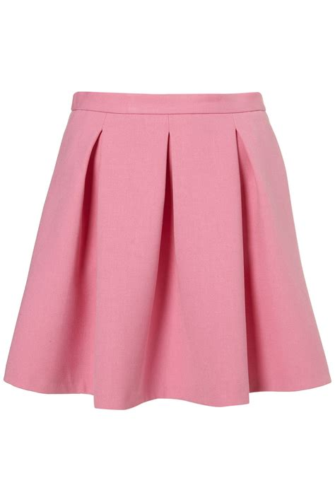 topshop invert pleat flippy skirt in pink lyst