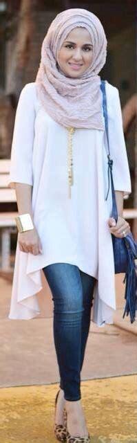 42269 Blue Denim Casual Blouse Blouse Biru Denim til stylish saat berhijab dengan padu padan celana