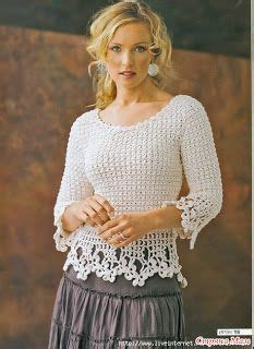 Quena Lace Blue top a maglia su tornante pizzo crochet gilet