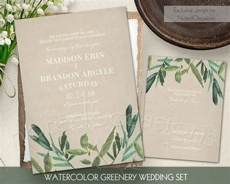 Cheap Green Wedding Invitations by Greenery Wedding Invitation Set Rustic Watercolor