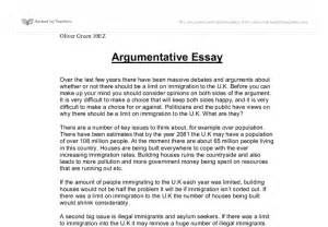 Argumentative Essay Introduction Exles by Argumentative Essay By Oliver Green Gcse Marked By Teachers