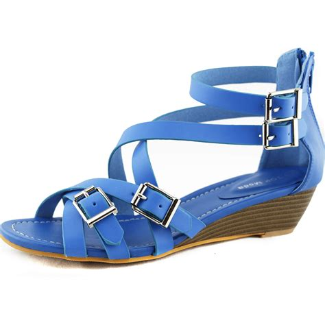 blue sandals blue strappy gladiator cross buckle low heel sandals