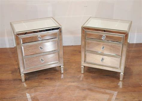 nachttisch aus spiegel pair mirrored nightstands bedside chests tables ebay