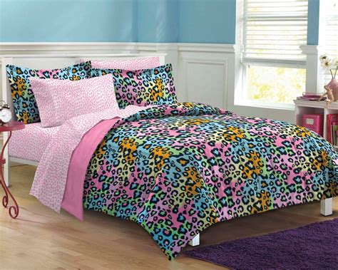 teen girl bed in a bag pink rainbow leopard teen girl bedding twin xl full queen