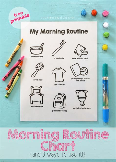 printable toddler routine chart printable morning routine chart mama papa bubba