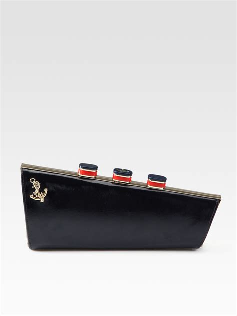 Kate Spade Katy Katherine Clutch by Kate Spade Ship Patent Leather Clutch In Black Lyst