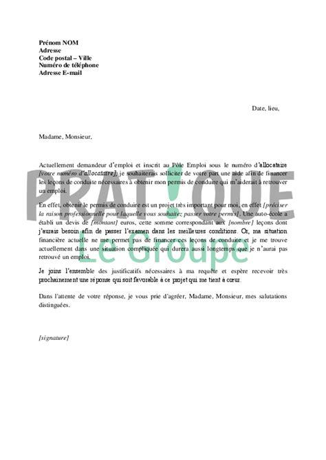 Lettre De Transfert Ecole Lettre De Demande De Financement Du Permis De Conduire Au P 244 Le Emploi Pratique Fr