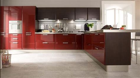 customized high gloss red lacquer kitchen cabinets
