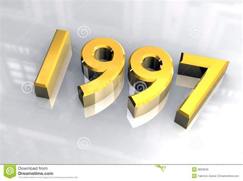 1997 new year new year 1997 in gold 3d stock illustration image of