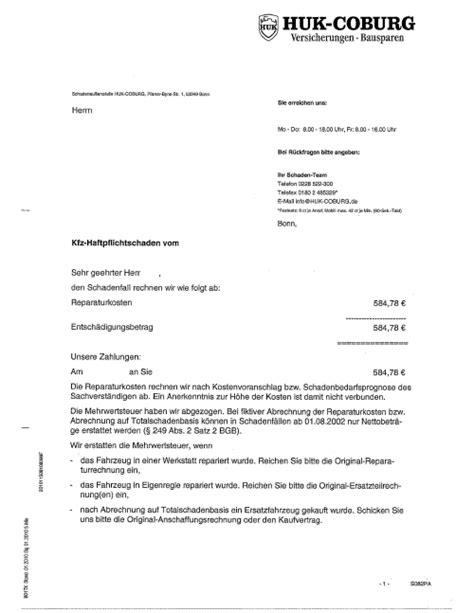 Musterbrief Versicherung Kostenvoranschlag Schadensabwicklung Ohne Externe Wegelagerer 224 La Huk Captain Huk