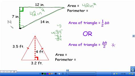 how to calculate perimeter area and perimeter of triangles