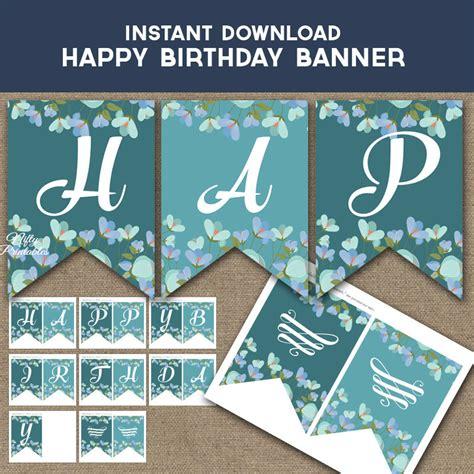 etsy printable birthday banner birthday banner printable turquoise happy birthday banner