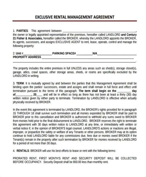 cottage rental agreement 58 management agreement exles and sles