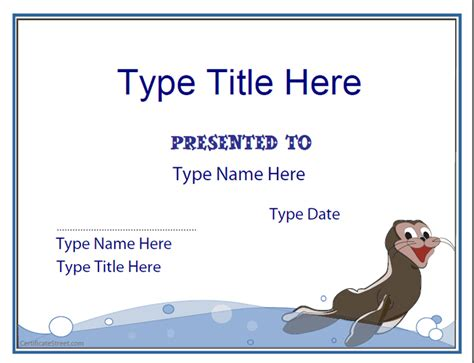swimming certificate template blank certificates swimming certificate template