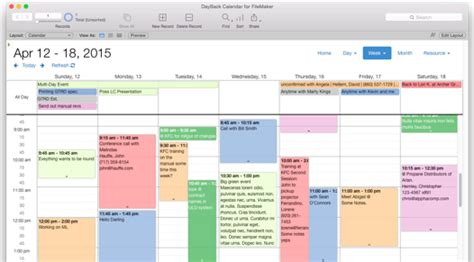Filemaker Calendar Template by Filemaker Calendar And Resource Scheduling Seedcode