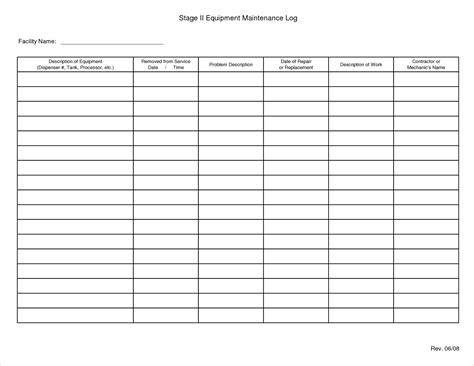 machine maintenance log template 4 equipment maintenance log template procedure template