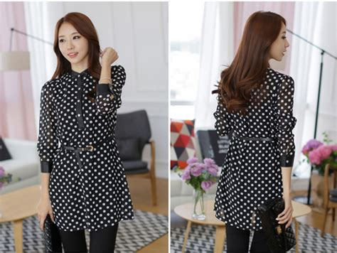 Dress Putih Lengan Panjang Polkadot Hitam Import Korea Fit To L dress korea hitam polkadot terbaru model terbaru jual murah import kerja