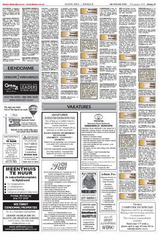 huis te huur nylstroom die pos 26 augustus 2016 by die pos koerant newspaper issuu