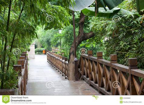 garden footbridge wooden footbridge throught garden stock photo image