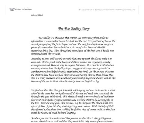 Boo Radley Essay by The Boo Radley Story A Level Marked By Teachers
