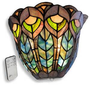 Stained Glass Wall Sconce Peacock Stained Glass Half Moon Led Wall Sconce Timer Remote Traditional Wall Sconces By